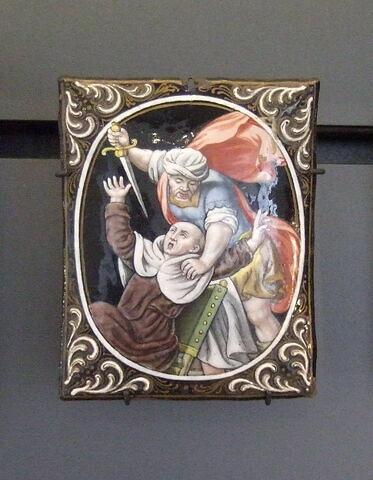 Plaque : martyre d'un religieux