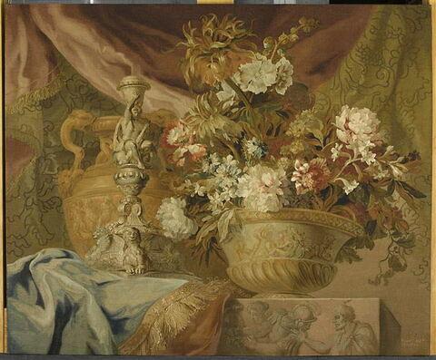 Tableau en tapisserie : Orfèvrerie, chandelier avec cadre doré.