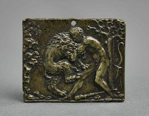 Plaquette : Heros combattant un lion