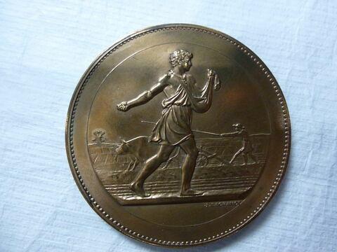 Le Semeur. Médaille du Comice agricole. Deux exemplaires. Face et revers. Bronze (inventaire)