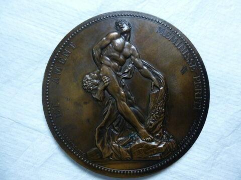 Milon de Crotone. Médaille. Deux exemplaires. Face et revers. Bronze