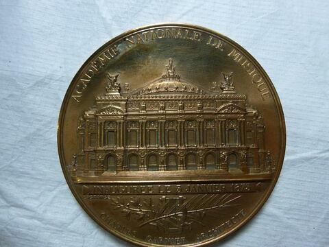 L'Opéra. Médaille. Deux exemplaires. Face et revers. Bronze (inventaire)