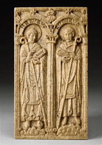 Plaque de reliure : deux évêques de Beauvais : Hervé (987-998) et Roger (mort en 1016 ou 1022), fils d'Eudes Ier de Champagne et de Blois, chancelier du roi.