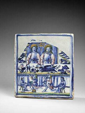 Plaque rectangulaire : saint Crépin et saint Crépinien dans leur atelier
