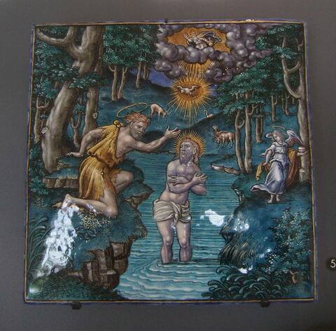 Plaque : Baptême du Christ.