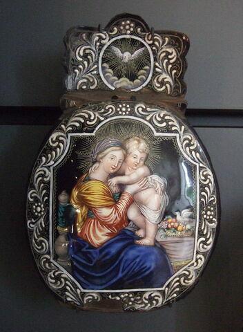 Plaque de bénitier : Vierge à l'Enfant
