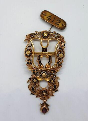 Boucle de ceinture en or émaillé
