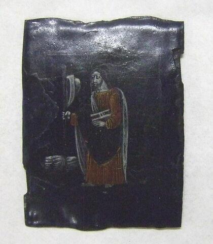 Plaque rectangulaire en émail peint polychrome : Saint Jacques