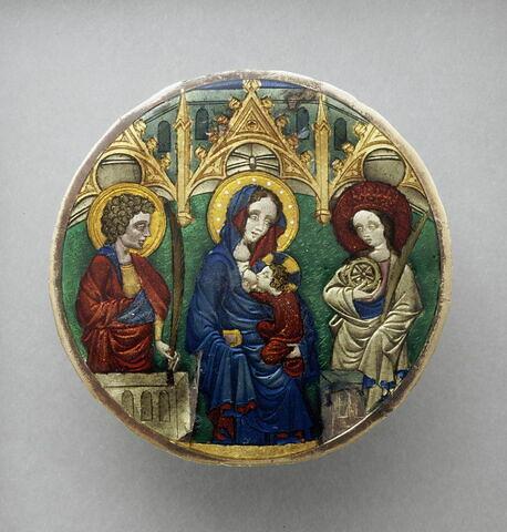Valve de miroir : Vierge et l'Enfant entre sainte Catherine et saint Jean l'évangéliste