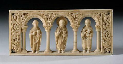 Plaque provenant d'un autel portatif : Saint Denis entre les Saints Rustique et Eleuthère.