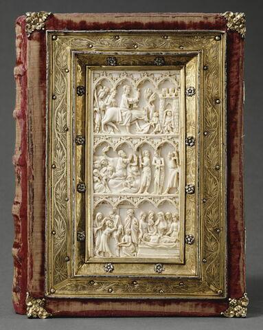 Manuscrit de Denis l'Aréopagite, recouvert d'une reliure sertissant deux feuillets d'un diptyque de la Passion.