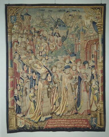Tapisserie : 8ème pièce de la tenture de saint Anatoile de Salins représentant les funérailles de saint Anatoile