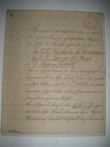 Journal de voyage écrit par le duc de Reichstadt en langue allemande.