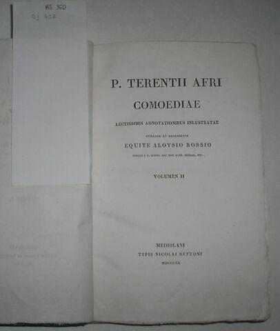 Ouvrage en latin : Terentius en 3 volumes ayant appartenu au duc de Reichstadt.