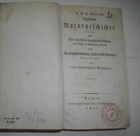 Livre d'études en langue allemande ayant appartenu à Napoléon II : Allgemeine Naturgeschichte..., Erfurt, 1806.
