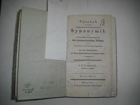 Livre d'études en langue allemande ayant appartenu à Napoléon II : Versuch einer allgemeinen lateinischen Synonymik..., I, Vienne, 1814.
