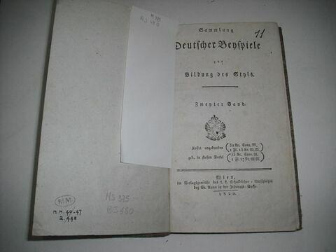 Livre d'étude en langue allemande ayant appartenu à Napoléon II : Sammlung Deutscher Beispiele, vol. II. Vienne, 1820.