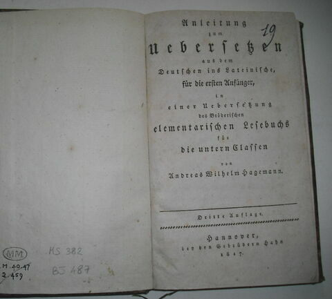 "Livre d""études de langue allemande ayant appartenu à Napoléon II : Einleitung zum Uebersetzen, Hanovre, 1817."