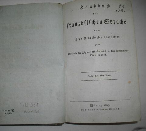 Livre d'études en langue allemande ayant appartenu à Napoléon II : Handbuch der Französischen Sprache, Vienne, 1817.