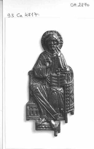 Plaque d'applique : Christ bénissant, bronze ancien surmoulé d'un ivoire byzantin.