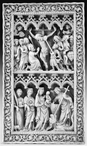 Plaque : la Crucifixion ; Vierge à l'Enfant entre sainte Agnès, sainte Catherine et saint Michel