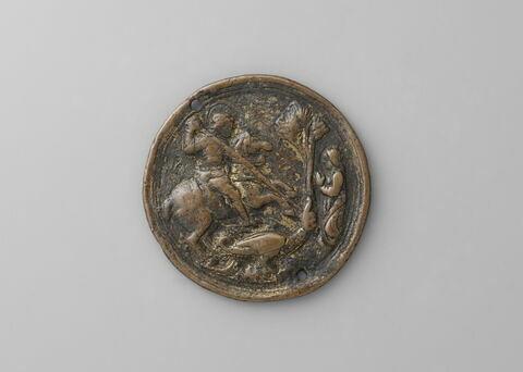 Plaquette : saint Georges à cheval, à droite la fille du roi de Lydie en prière