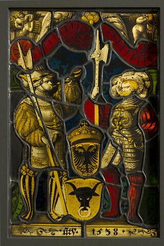 Panneau rectangulaire aux armes d'Uri et du Saint Empire représentant deux hallebardiers