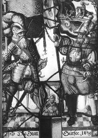 Panneaux rectangulaire aux armes de la ville de Sursee (Lucerne), représentant deux hallebardiers ; dans l'angle supérieur droit : saint Georges terrassant le dragon