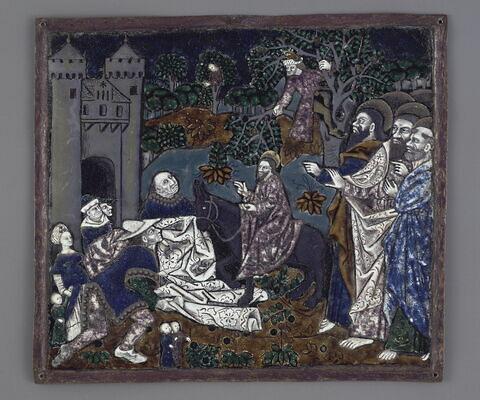 Plaque : L'entrée du Christ à Jérusalem, d'un ensemble de douze plaques