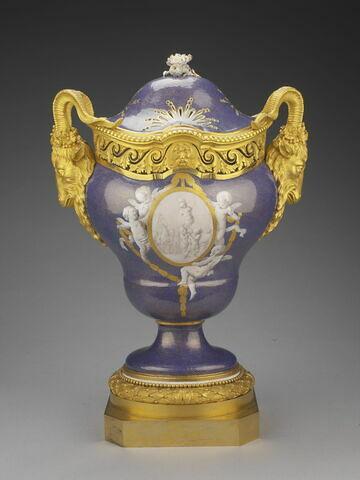 """Pot-pourri """"Hébert"""" à fond bleu piqueté d'or Manufacture de Sèvres"""