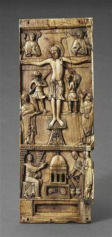 Plaque centrale d'un triptyque : La Crucifixion ; Saintes femmes au tombeau
