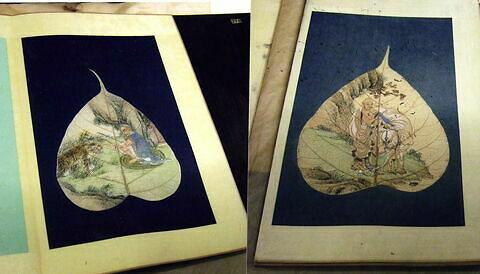 Peinture chinoise. Album avec reliure en bois.