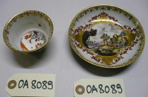 Tasse à thé et soucoupe, d'un ensemble de six (OA 8085 à 8090). Porcelaine dure Meissen, XVIIIème siècle