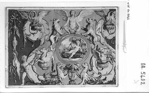 Fragment de la tapisserie Le Triomphe d'Hercule : Hercule tuant le serpent, de la tenture des Triomphes des Dieux