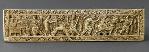 Plaque inférieure d'un feuillet de diptyque : Annonciation, Epreuve de l'Eau amère, Voyage à Bethléem