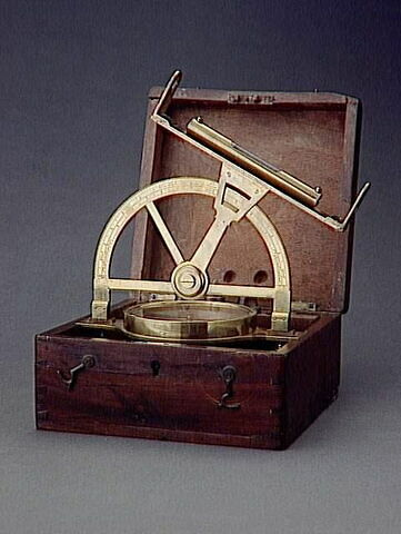 Instrument de topographie minière et sa boîte
