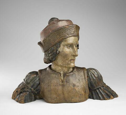 Buste d'homme surmontant une jouée de stalle ou fragment d'une statue en pied : saint Martin ?