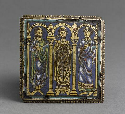 Plaque émaillée : les saints Sébastien, Liévin, Tranquillin.