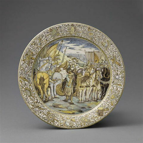Plat rond : Alexandre couvrant Darius de sa chlamyde