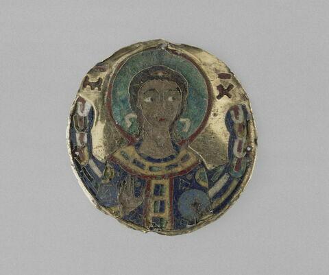 Médaillon en émail closonné sur or : archange saint Michel en buste