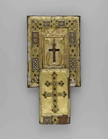 Tableau-reliquaire de la Vraie Croix et couvercle à glissière.
