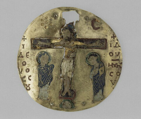Médaillon en émail cloisonné sur or : Crucifixion