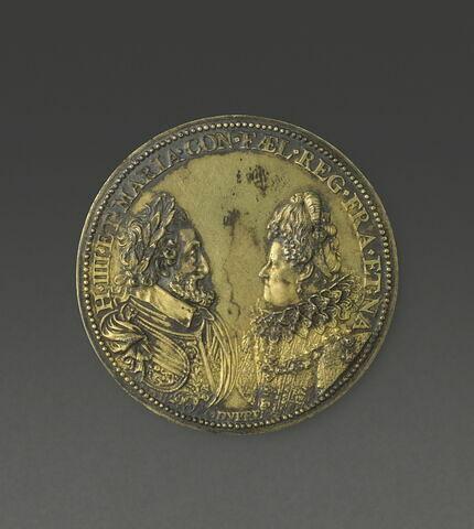 Médaille : Profils affrontés d'Henri IV et Marie de Médicis / armes de Navarre