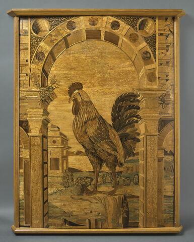 Panneau : Un coq sous une arcade