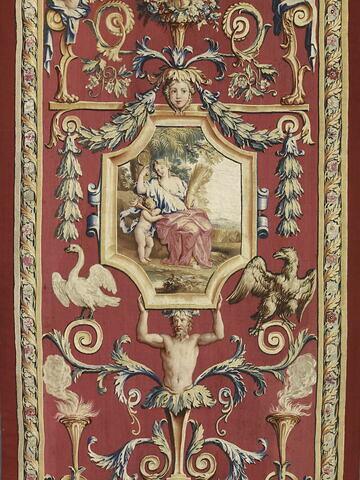 Le Printemps et l'Eté, d'une garniture complétant une tenture des Mois Grotesques de la tenture des Mois Arabesques,  destinée à décorer une niche dans le cabinet du Roi à Trianon
