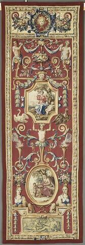 L'Automne et l'Hiver, d'une garniture complétant une tenture des Mois Grotesques de la tenture des Mois Arabesques,  destinée à décorer une niche dans le cabinet du Roi à Trianon