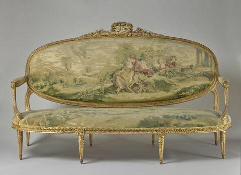 Canapé couvert en tapisserie de Beauvais