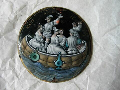 Médaillon : Joyeuse Assemblée dans un bateau