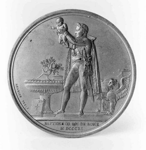 Médaille : Baptême du roi de Rome, cliché de droit