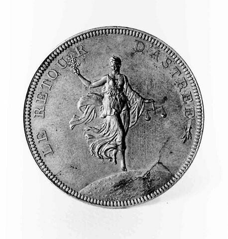 Médaille : Le retour d'Astrée, cliché de revers